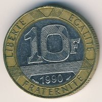 France 10 francs 1990 - the Genius of Freedom