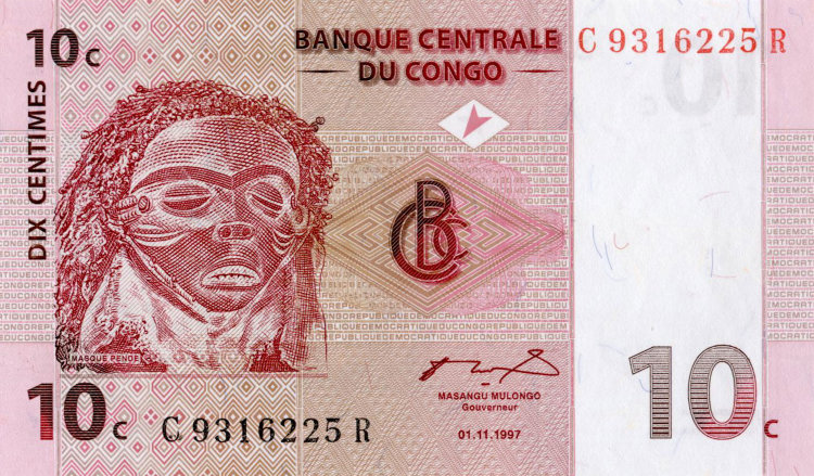 Congo 10 centimos 1997 - the Mask of the Pende people. Dance of the Pende people