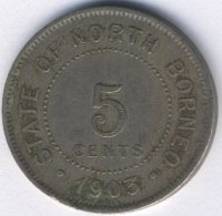 North Borneo 5 cents 1903 - coat of Arms