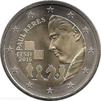 Estonia 2 Euro 2016 - 100 years since the birth of Paul Keres