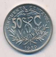 Bolivia 50 centavos 1939 - coat of Arms