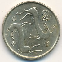 Cyprus 2 cents 1996 Two goats