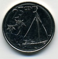 Bahamas 25 cents in 2015 - the Sailboat