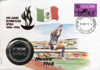 Uganda 1000 shillings 1996 100 years Olympic games - Mexico 1968 (in envelopes with stamps)