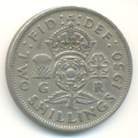 United Kingdom 2 shillings (Florin) 1950 - Tudor rose