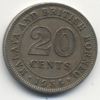 Malaya and British Borneo 20 cents 1954