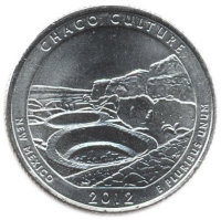 US 25 cents 2012 - national historical Park Chaco (P)