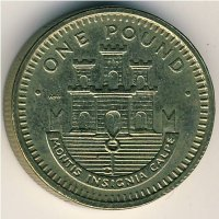 Gibraltar 1 pound 1988 - coat of Arms (Moorish castle)
