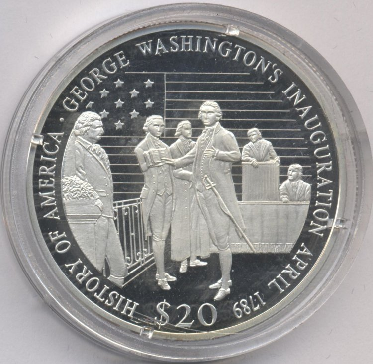 Liberia 20 dollars 2001 Inauguration of George. Washington 1789