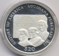 Liberia 20 dollars 2000 - the Louisiana purchase 1803